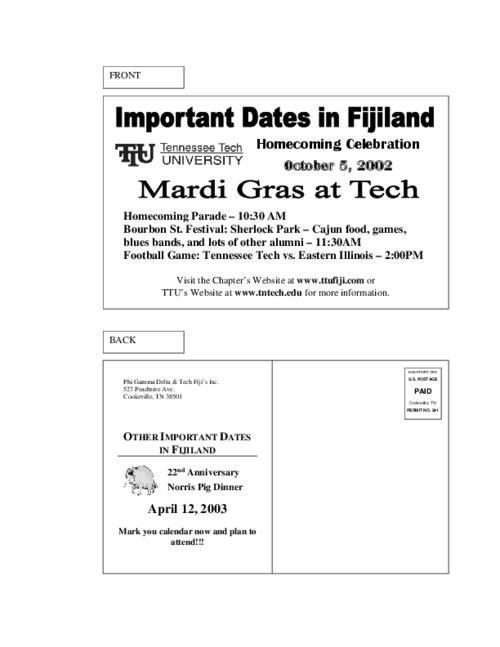 Tntech Calendar.2002 Homecoming Postcard For Tennessee Tech Phi Gamma Delta