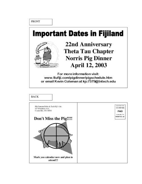 Tntech Calendar.2003 Pig Dinner Postcard Invite For Tennessee Tech Phi Gamma Delta