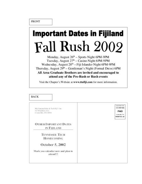 Tntech Calendar.2002 Rush Postcard For Tennessee Tech Phi Gamma Delta Digital