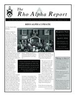 2014 Winter Newsletter Rho Alpha (Virginia Polytechnic Institute and State University)...