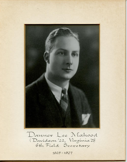 Danner Lee Mahood (Davidson College 1922, University of Virginia 1923) served as field secretary from 1925 through 1927. Brother Mahood is designated ROTPS number 6. Additional Service to Phi Gamma Delta includes Archon President, Archon Vice President, Archon Secretary, and General Appointed Officer.