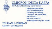 Bill Zerman (University of Michigan 1949) Business Card