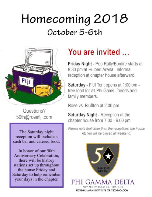 2018 October 6 Homecoming Invitation For Rho Phi Chapter Phi Gamma