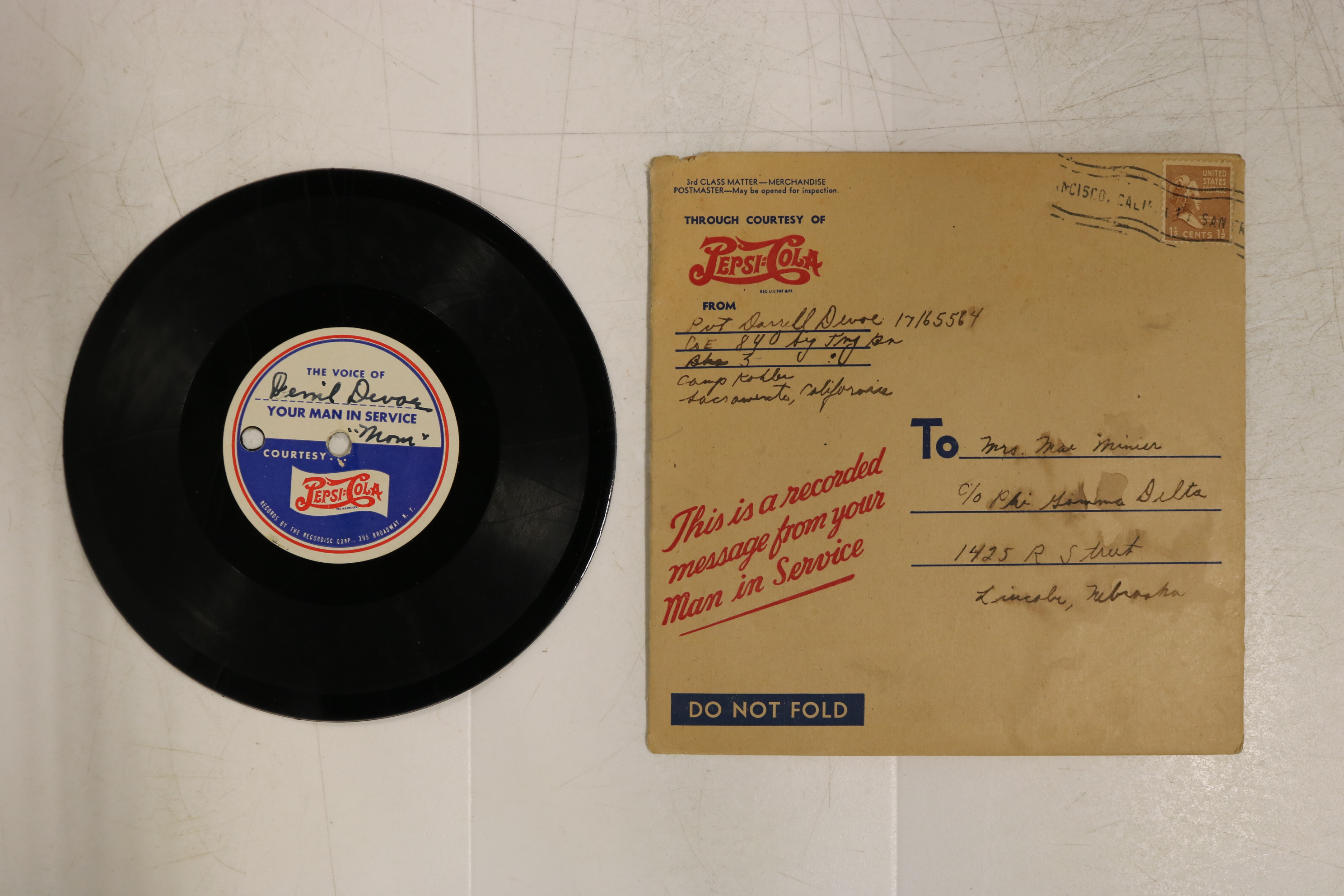 1945 (circa) Recording of Private Darrell Devoe (University of Nebraska 1949)...