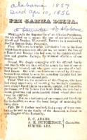 1856 Death Announcement for Walter C. Roper (University of Alabama 1857)