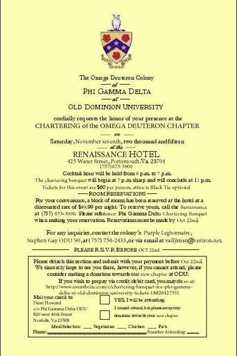 2015 Old Dominion University Omega Deuteron Chartering